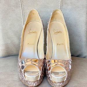 Christian Louboutin Shoes - 💯🆑👠SOBEK ROSE SILVER 140 PEEPTOE MOSAIC MIRROR